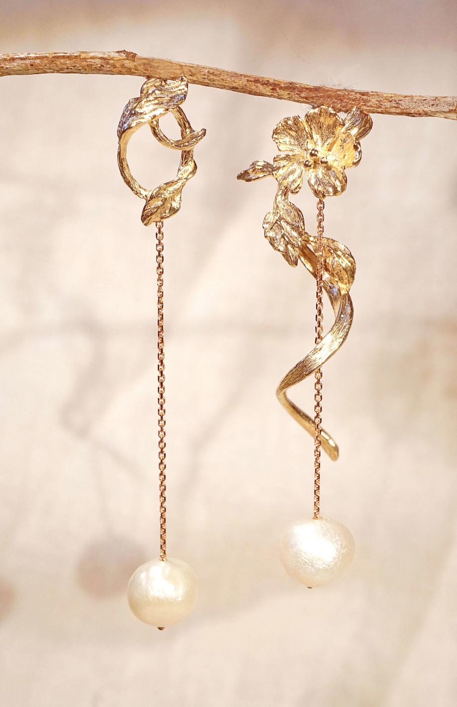 Chia Jewelry訂製輕珠寶首飾|訂製10k金巴洛克珍珠耳環|珍珠夾式耳環