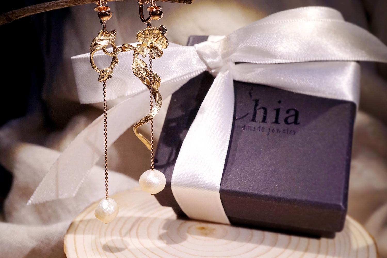 Chia Jewelry訂製輕珠寶品牌|輕珠寶首飾設計|珍珠k金首飾耳環||珍珠夾式耳環