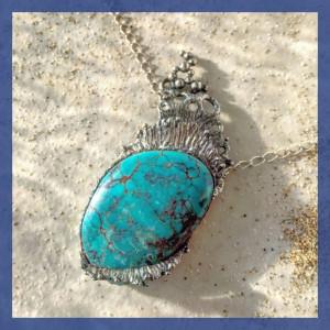 訂製分享-綠松石海洋銀墜子