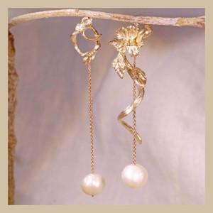 訂製姓名首飾-花草系珍珠耳環
