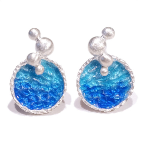 海洋系列-湛藍琺瑯銀耳環/長款/海藍色