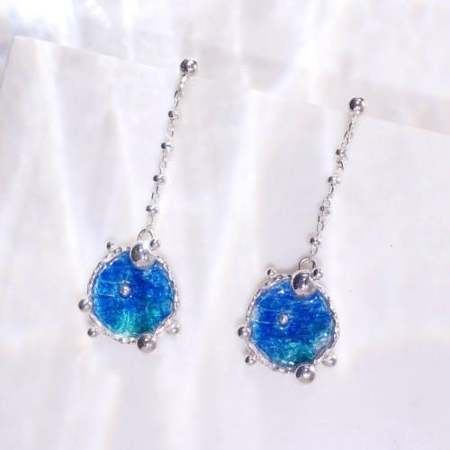 海洋系列-湛藍琺瑯銀垂吊耳環/圓款/海藍綠