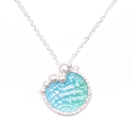 海洋系列-湛藍琺瑯銀項鍊/大圓款/淺藍綠