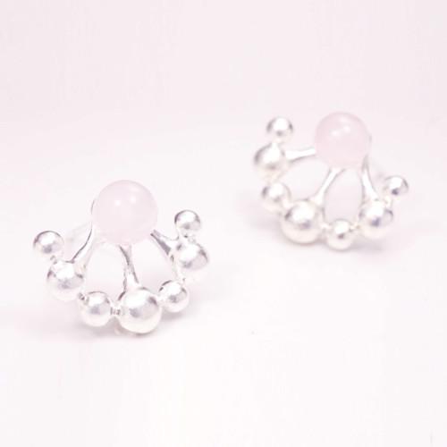 小花園系列-蒲公英耳環/925銀&粉晶