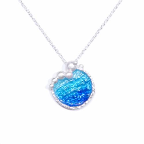 海洋系列-湛藍琺瑯銀項鍊/大圓款/海藍色