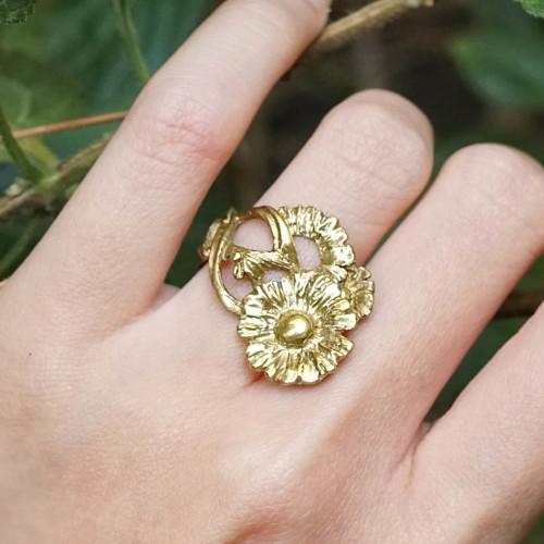 小花園系列-小雛菊黃銅戒指