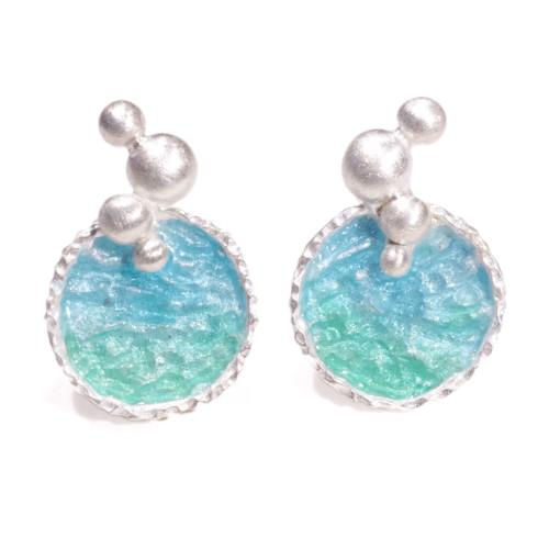 海洋系列-湛藍琺瑯銀耳環/長款/藍綠色