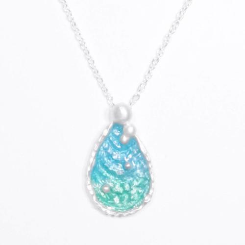 海洋系列-湛藍琺瑯銀項鍊/水滴款/淺藍綠