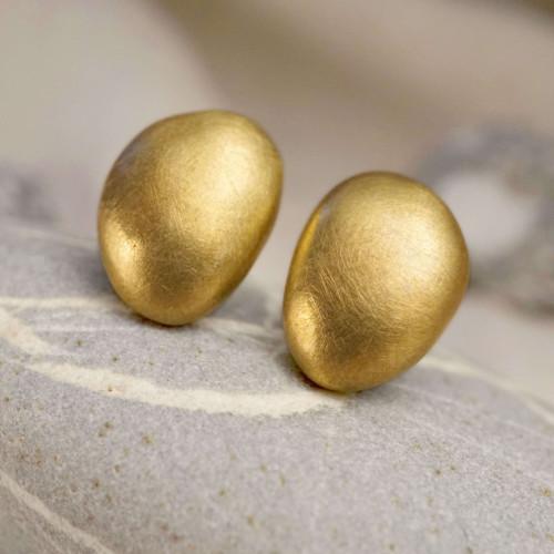 時間之詩-圓石黃銅耳環