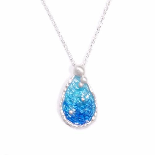 海洋系列-湛藍琺瑯銀項鍊/水滴款/海藍色