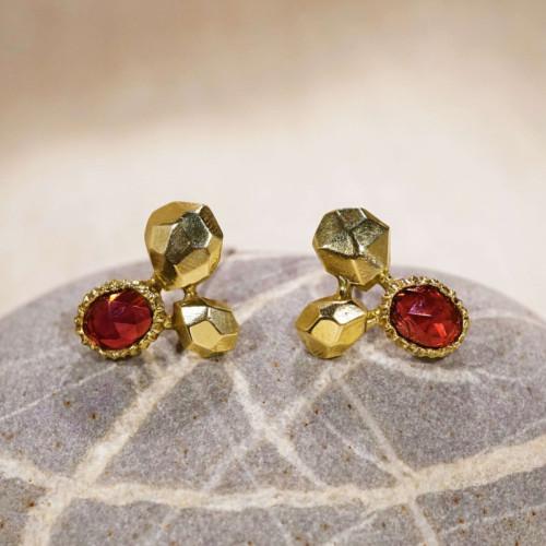 時間之詩-岩石黃銅耳環(石榴石)