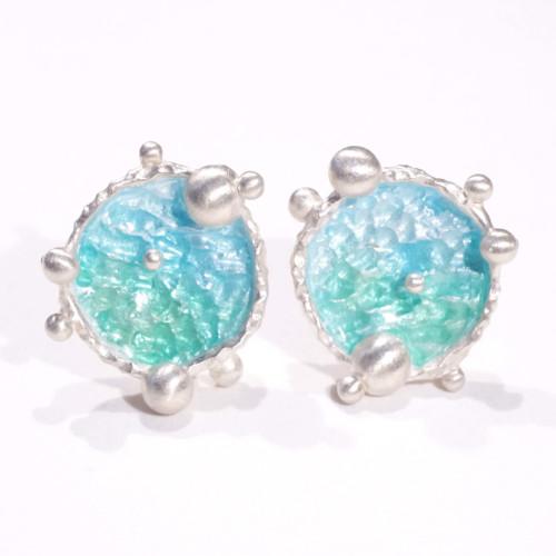 海洋系列-湛藍琺瑯銀耳環/圓款/淺藍綠