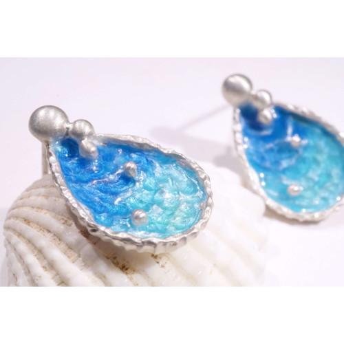 海洋系列-湛藍琺瑯銀耳環/水滴款/海藍色