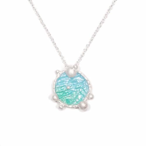 海洋系列-湛藍琺瑯銀項鍊/圓款/淺藍綠