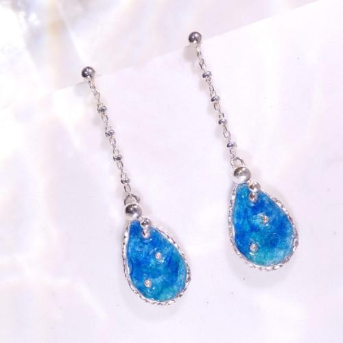 海洋系列-湛藍琺瑯銀垂吊耳環/水滴款/海藍色